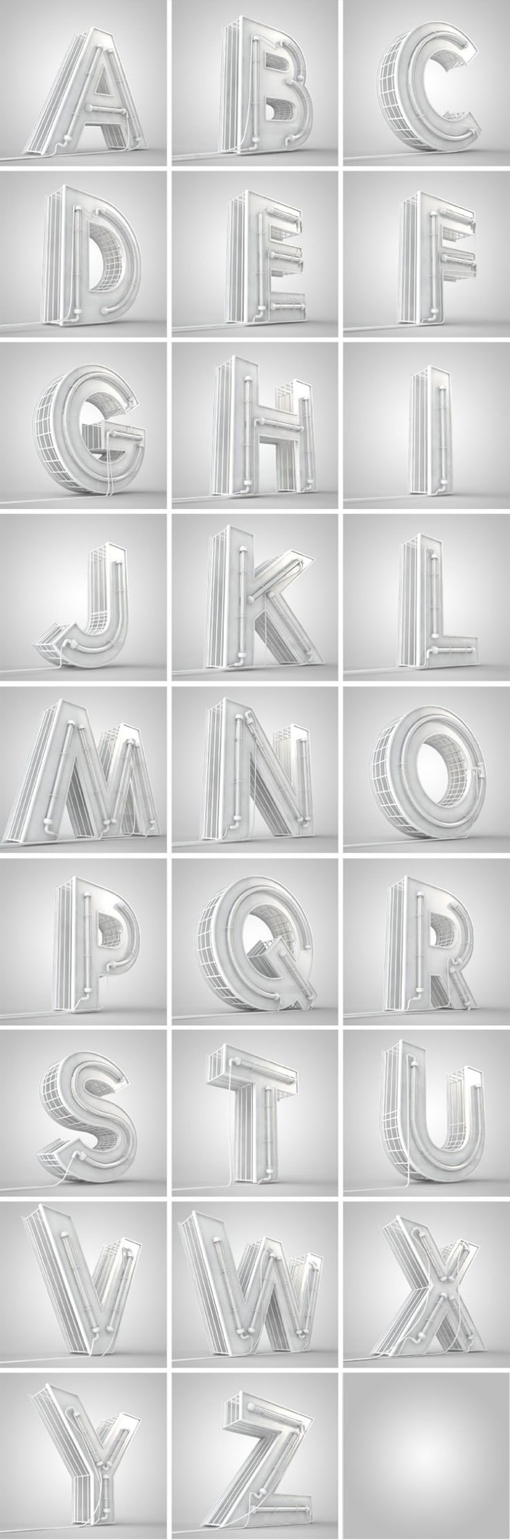Capital Alphabets 3d model with lights lamptube