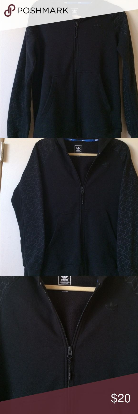 Adidas Black Cotton Hoodie With Front Pockets Adidas Black Cotton Hooded Sweatshirt Zips Up Front Has Geometric Grey Design & Partial Black Duo on Sleeves Adidas Logo Is Black Ribber on Front Left Side Excellent Condition Size Juniors US L Size S & M Unisex Adult Sizes Adidas Jackets & Coats