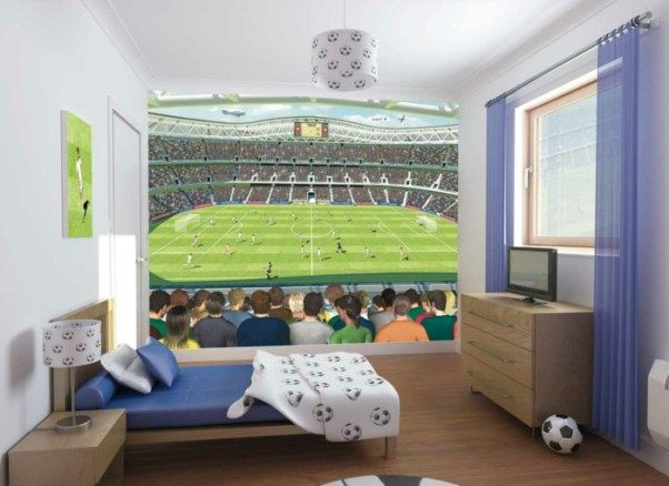 soccer themed teenage boy bedroom ideas for small space