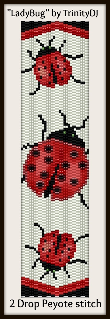 """""""LadyBug"""" - One of the new bracelet patterns for this week. It will be available as direct download and/or kit tomorrow (2 drop peyote stitch bracelet pattern)"""