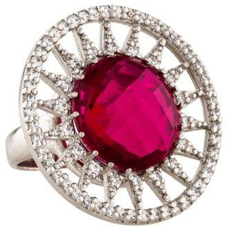 Anzie Cranberry Quartz & Crystal Aztec Sun Ring