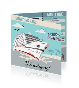 Uitnodigingskaarten maken als boarding pass of ticket met een schip. Echt een leuke uitnodiging.