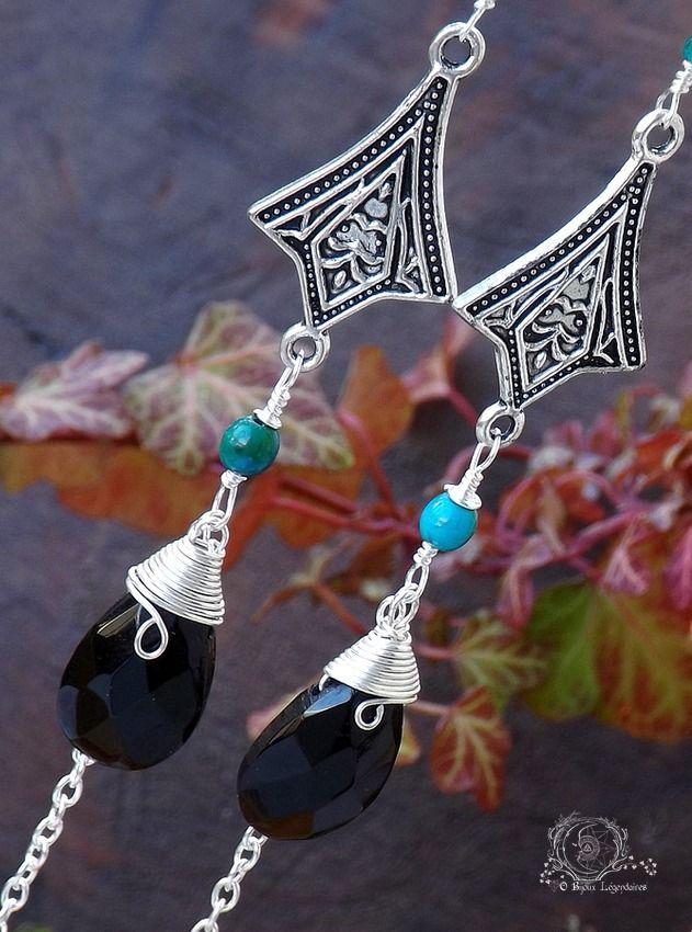 Longues boucles larges briolettes de cristal facetté, Chrysocolle, Péridot, Onyx vert, fines chaînettes: ᘛ Entrelacs des elfes : Boucles d'oreille par obijouxlegendaires