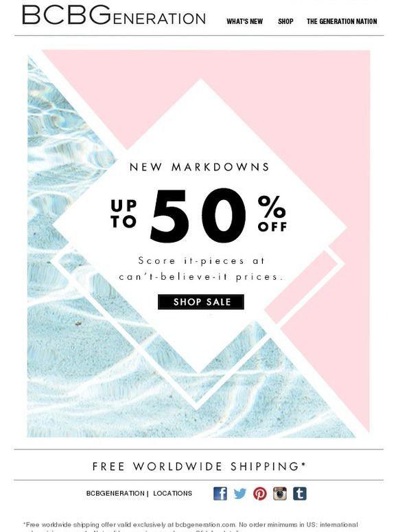 NEW (wait for it) MARKDOWNS - BCBGeneration Email Newsletter Design