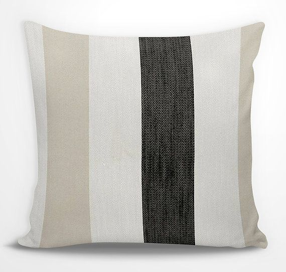This soft beige, charcoal black, and white striped euro sham is coastal chic at its best. Simple and sophisticated, it goes well in many