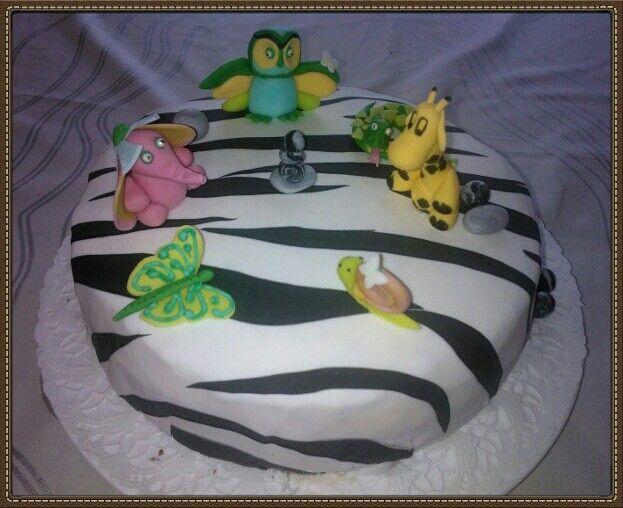 Zebra's  skin  decoration on  cake  with  animals