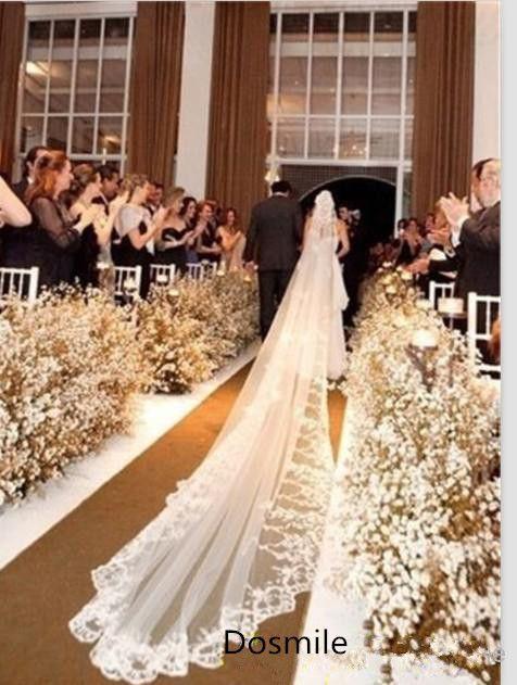 4 Meters velo de novia 400 cm Lace Edge Purfle 1 T  Blusher White&Ivory Long Mantilla Cathedral Bridal Wedding Veils  Free Comb
