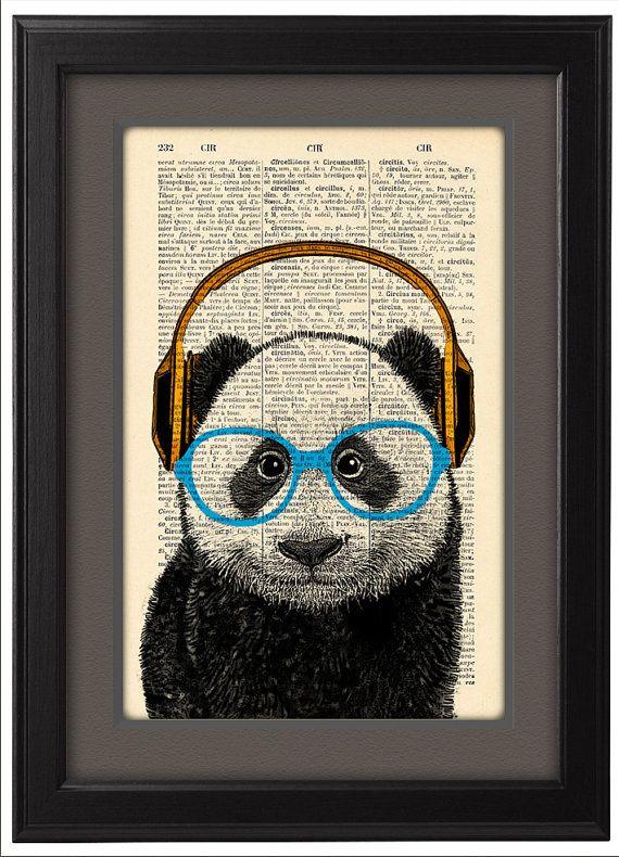 Panda headphones Geekery Panda  DICTIONARY Print  by Natalprint