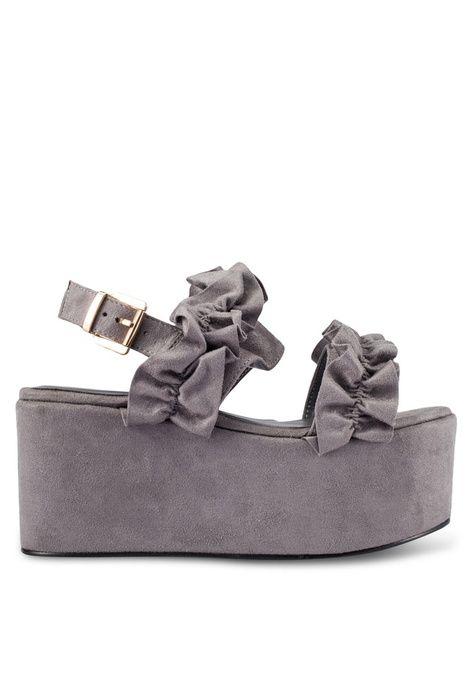3ee4d03fbdb Ruffles Strap Platform Sandals from Something Borrowed in grey 1 ...