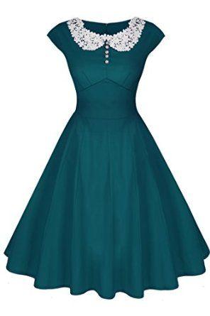 ACEVOG Women's Classy Vintage Audrey Hepburn Style 1940's Rockabilly Evening Dress: Amazon Fashion