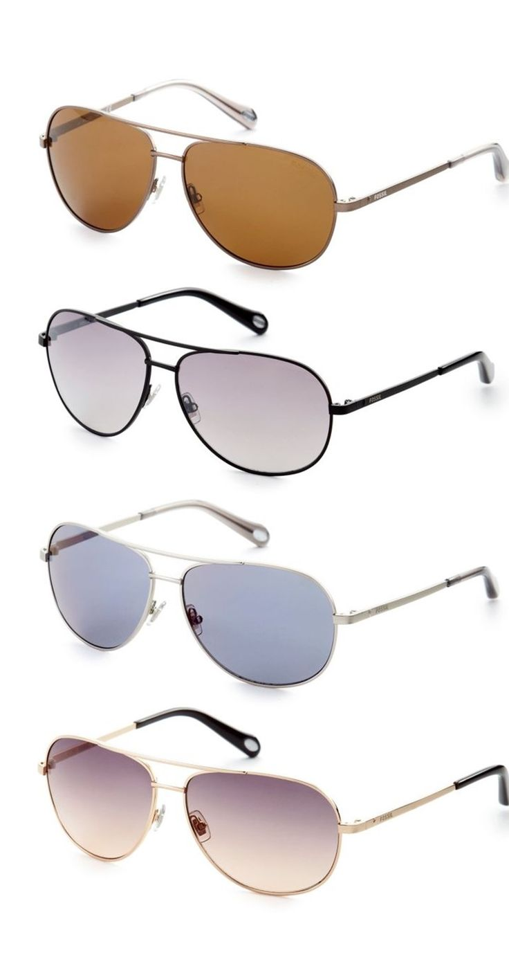 Aviator Sunglasses to match your style >> Fossil® Small Aviator Sunglasses