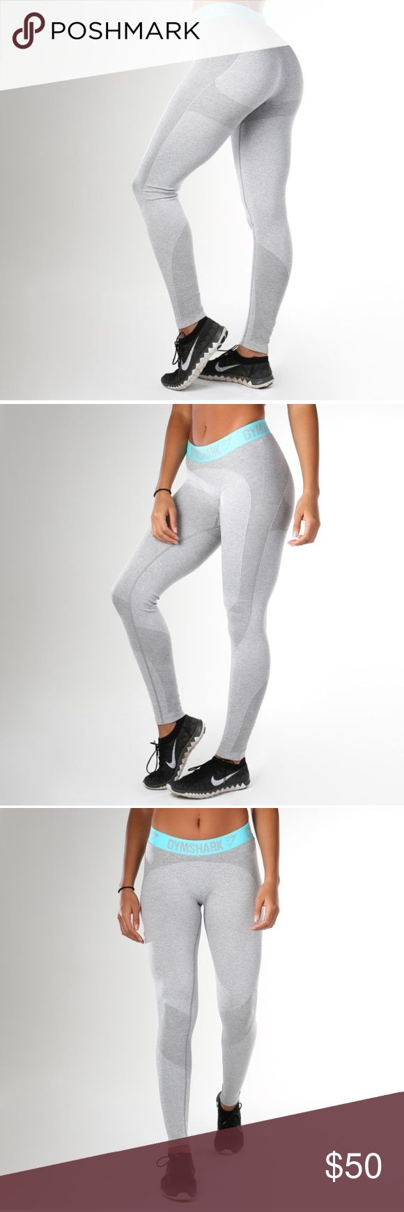 Gym Shark Flex Leggings in Light Grey I absolutely love these leggings and would keep if they were my size! Light grey with turquoise band. Soft, comfortable material. Shows off booty. Perfect condition. Never worn out. Gym Shark Pants Leggings