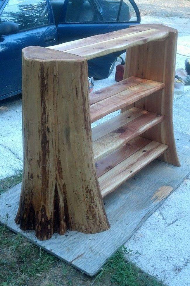 amazing hand-made self from cedar stump