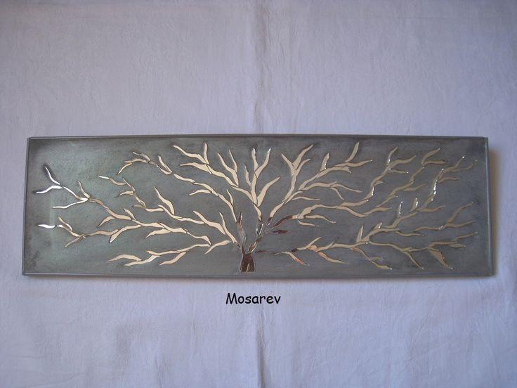 """VENDU-Tableau """"Auprès de mon arbre"""" mosaïque de miroir et enduit ciment gris"""