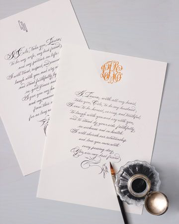 Vows in calligraphy on monogrammed paper to be framed as an heirloom! LOVE this idea