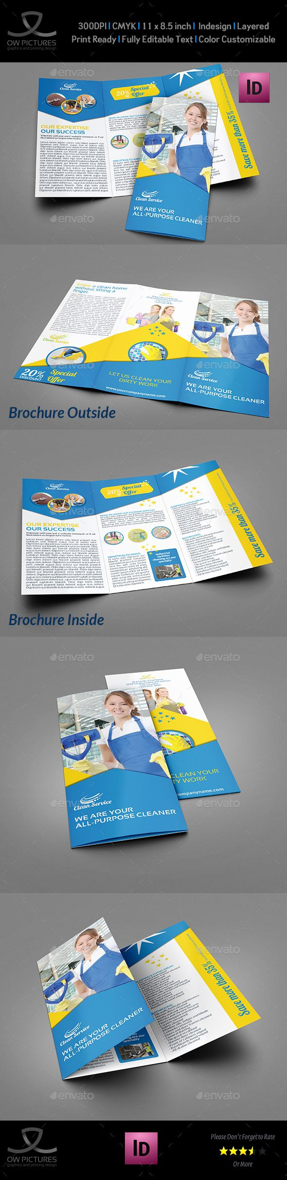 Cleaning Services Tri-Fold Brochure Template InDesign INDD