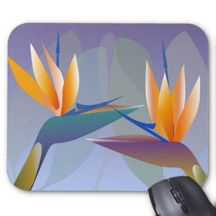 Strelitzia or bird of paradise flowers mouse pad - floral style flower flowers stylish diy personalize