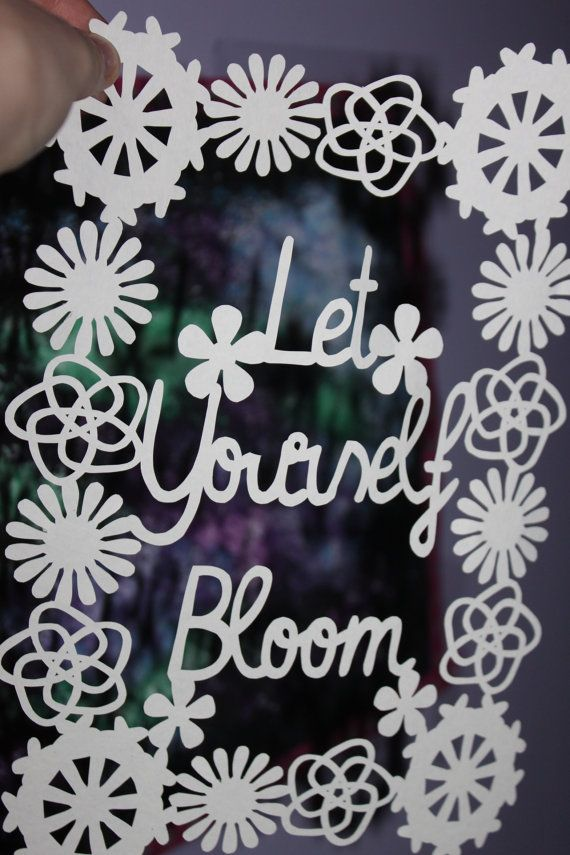 Let yourself bloom spring flowers downloadable papercutting template