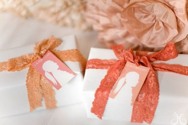 Peach lace-wrapped gifts: Shower Games, Coral, Blushes Pink, The Angel, Bridal Shower Ideas, Peaches Wedding, Bridesmaid, Gifts Wraps, Giftwrap Ideas