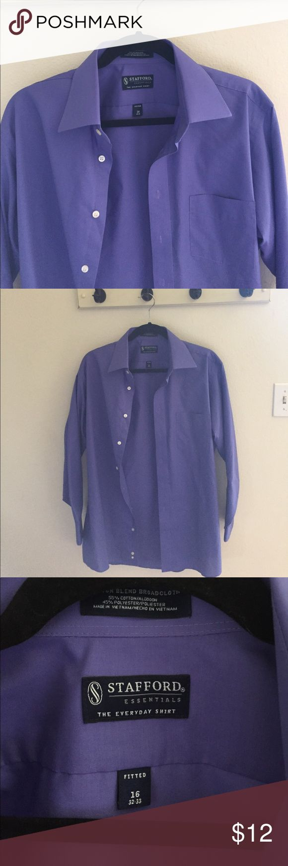 Purple dress shirt Purple Stafford dress shirt in great condition! Bundle and save! Stafford Shirts Dress Shirts