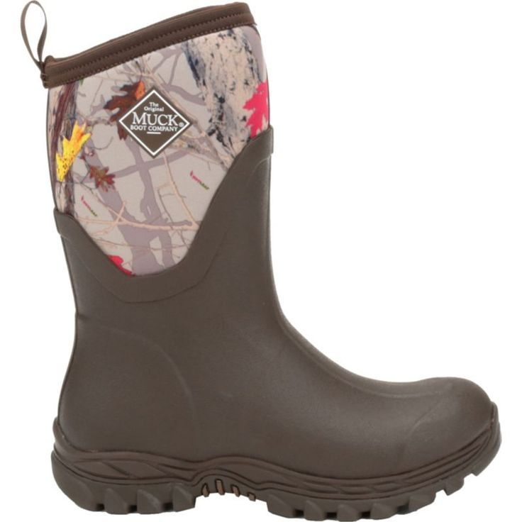 Muck Boots Women's Arctic Sport II Mid Rubber Hunting Boots, Brown/Hot Leaf Camo