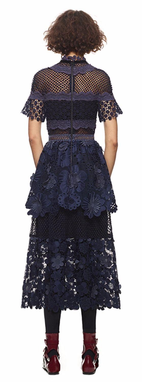 Aliexpress.com: Compre SMTHMA ALTA QUALIDADE New Fashion 2017 Retrato 3d flores azul escuro rendas maxi Vestido Longo Patchwork de confiança fashion long dress fornecedores em Smith clothing co., LTD