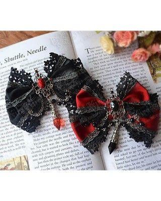 Gothic Beads Bows Lolita Hairpin $11.99-Lolita Headbows - My Lolita Dress