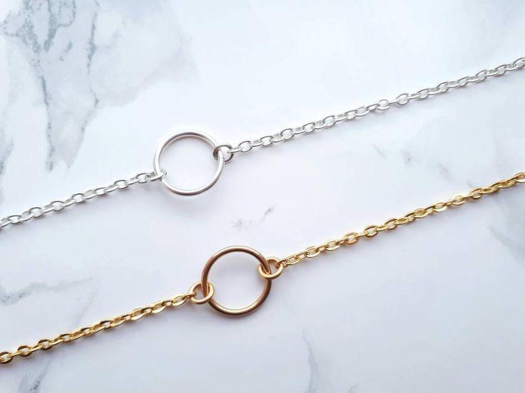 Excited to share the latest addition to my #etsy shop: Karma bracelet, coworker gift, circle bracelet, dainty gold silver bracelet, stocking stuffers, minimal bracelet, eternity bracelet #jewellery #bracelet #birthday #white #women #yes #cable #infinity