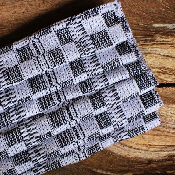 Woven Infinity Scarf in White and Black
