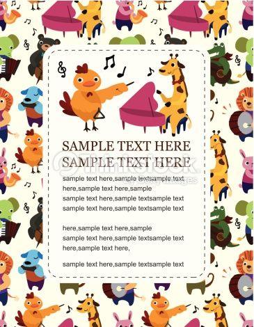 ベクトルアート : animal play music card