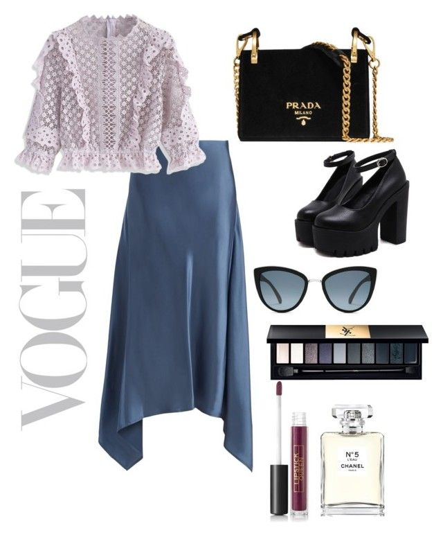 """Untitled #44"" by hfirlyana on Polyvore featuring Sies Marjan, Chicwish, Prada, Yves Saint Laurent, Lipstick Queen, Chanel and Topshop"