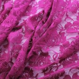 Floral Stretch Lace – Fuchsia
