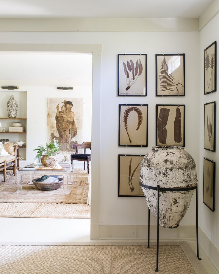 Naturalist Decor And Global Style In A Modern Entry And Living Room   Neutral  Home Decor