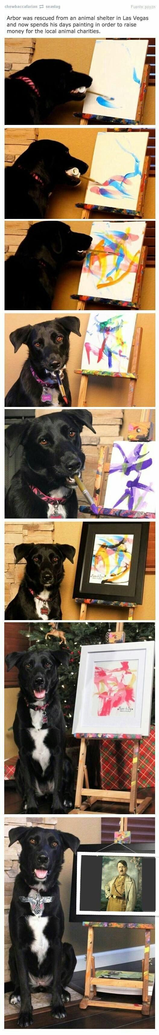 Dog was recused from Animal Shelter in Las Vegas and now spends his days painting in order to raise funds for animal charities.