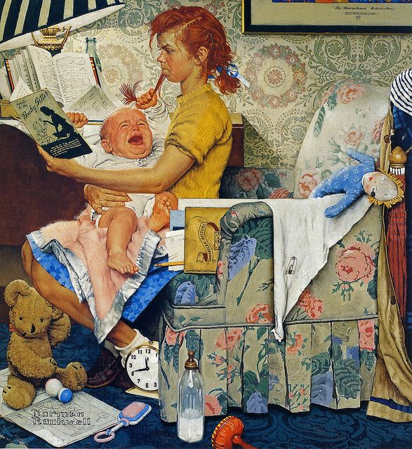 I think that Norman Rockwell is a brilliant story teller. This delightful painting is called 'The Babysitter'. One look at this and it tells you all!