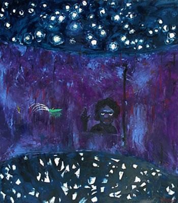 """Starry night and figure"" in 1985 by Arthur Boyd."