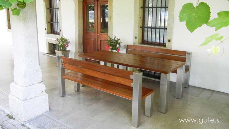Inox and OAK garden furniture set! www.gute.si
