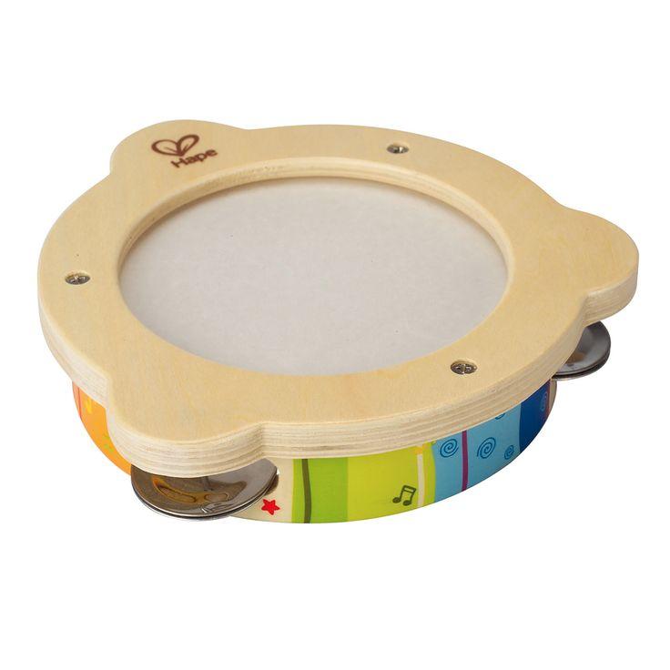 Houten tamboerijn speciaal gemaakt voor peuterhandjes. Geschikt voor kindjes vanaf 1 jaar. Te vinden bij Sassefras Meisjes Speelgoed voor écht peuter en kleuter speelgoed.