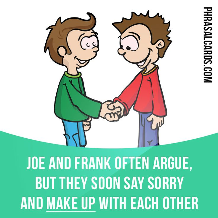 """""""Make up"""" means """"to become friendly with someone again after an argument"""". Example: Joe and Frank often argue, but they soon say sorry and make up with each other. Get our apps for learning English: learzing.com"""