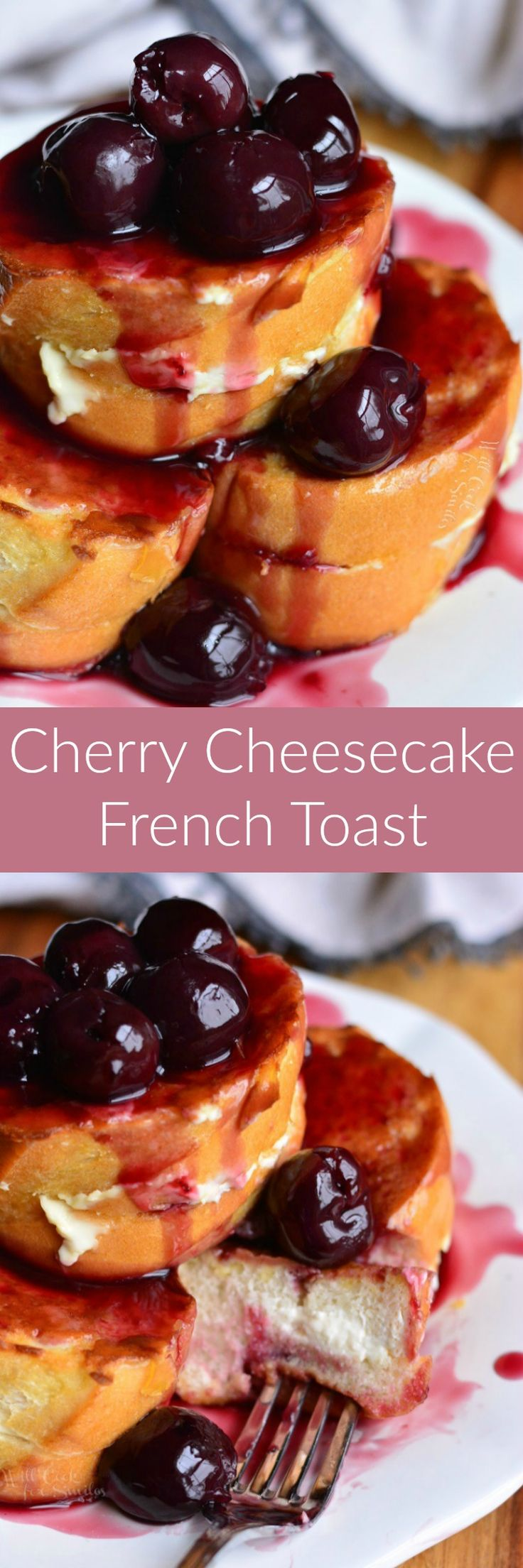 Cherry Cheesecake Stuffed French Toast! HEAVENLY breakfast made with soft and chewy French baguette stuffed with sweet cream cheese mixture and topped with brandy dark cherries in sauce. #frenchtoast #cherrycheesecake #stuffedfrenchtoast #cherrytopping