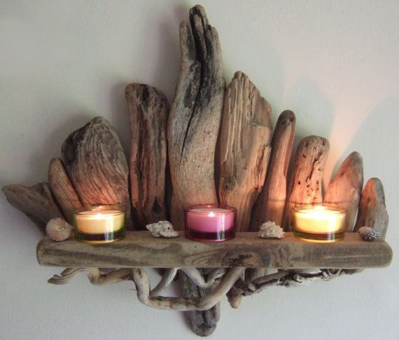 SOLDBeautiful Driftwood Shelf Candle Sconce By por DevonDriftwood