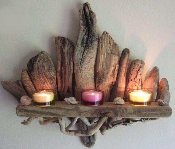 SOLDBeautiful Driftwood Shelf Candle Sconce By by DevonDriftwood