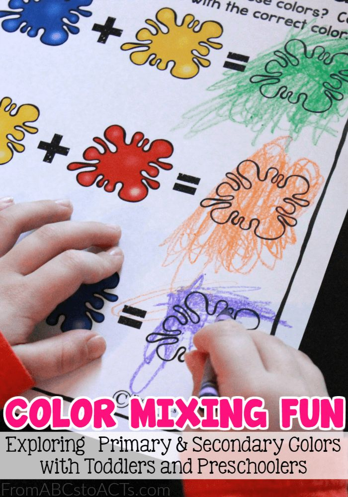 Introducing toddlers and preschoolers to the concept of primary and secondary colors can be a lot of fun.  Simply showing them how, when mixed together, tw