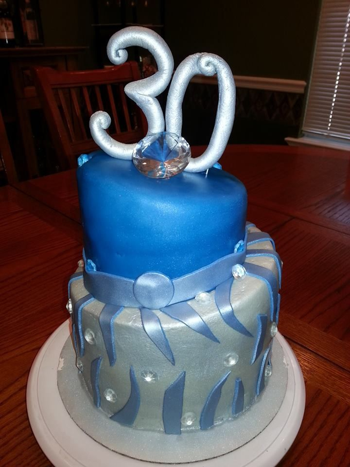 Blue And Silver 30th Birthday Topsy Turvy Cake Cakes I
