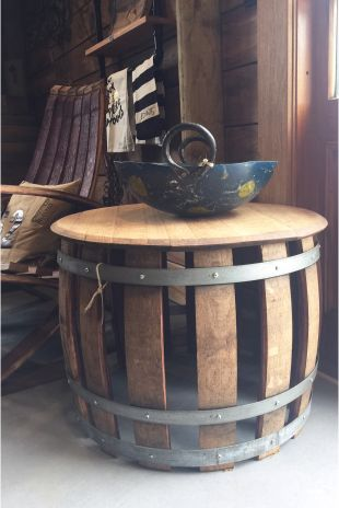 A Gorgeous Statement Piece In Any Home, Our Side Table Is Crafted From  Various Parts Of A French Oak Wine Barrel.