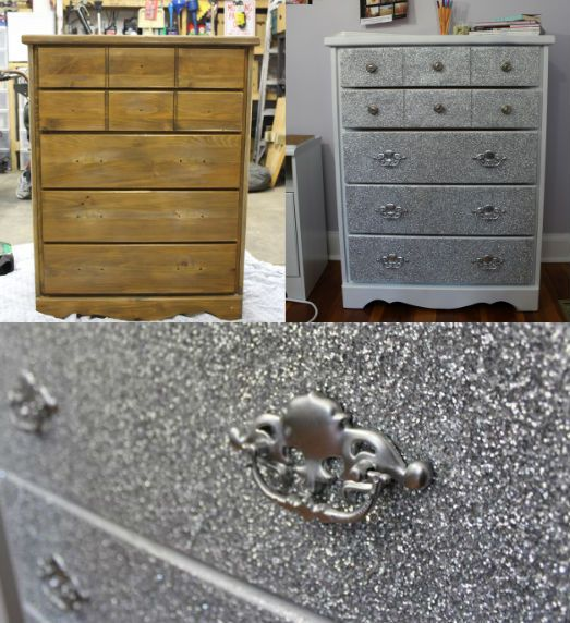 Dresser Makeover With Glitter! #DIY #GLITTER