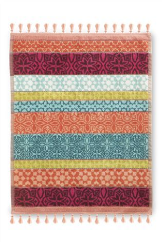 Махровый коврик для ванной с кисточками кораллового цвета