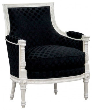 glamorous white painted wing chair with black upholstery