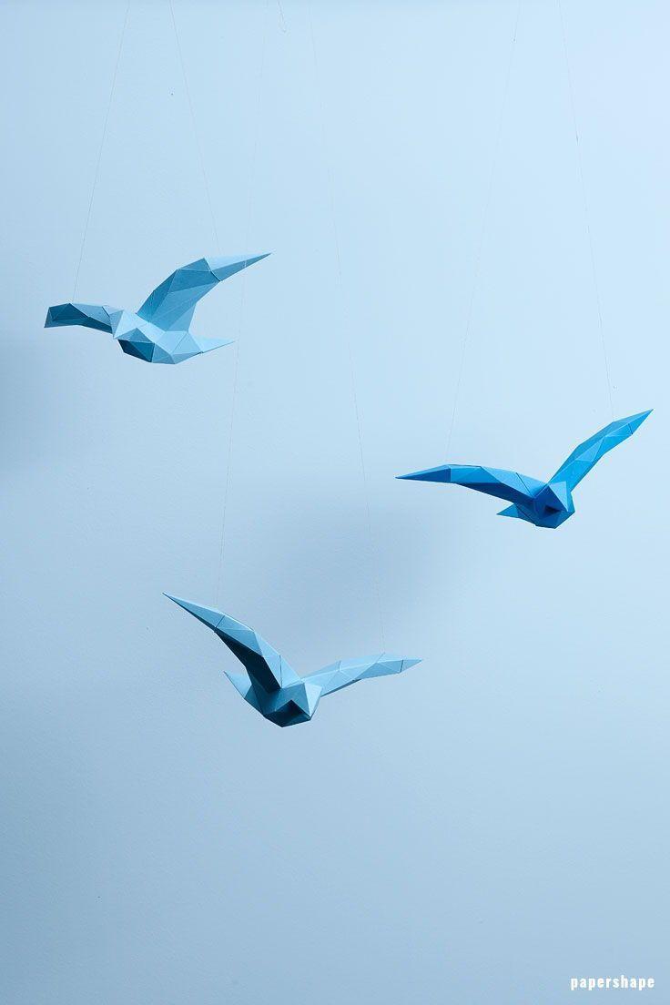 3d Papier Vogel Im Low Poly Design Paperfolding Pinterest