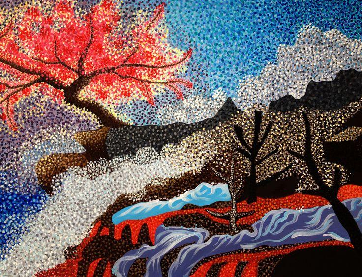 Pointillism - Lava Cherry Blossom Canvas 50x68 (for sale)